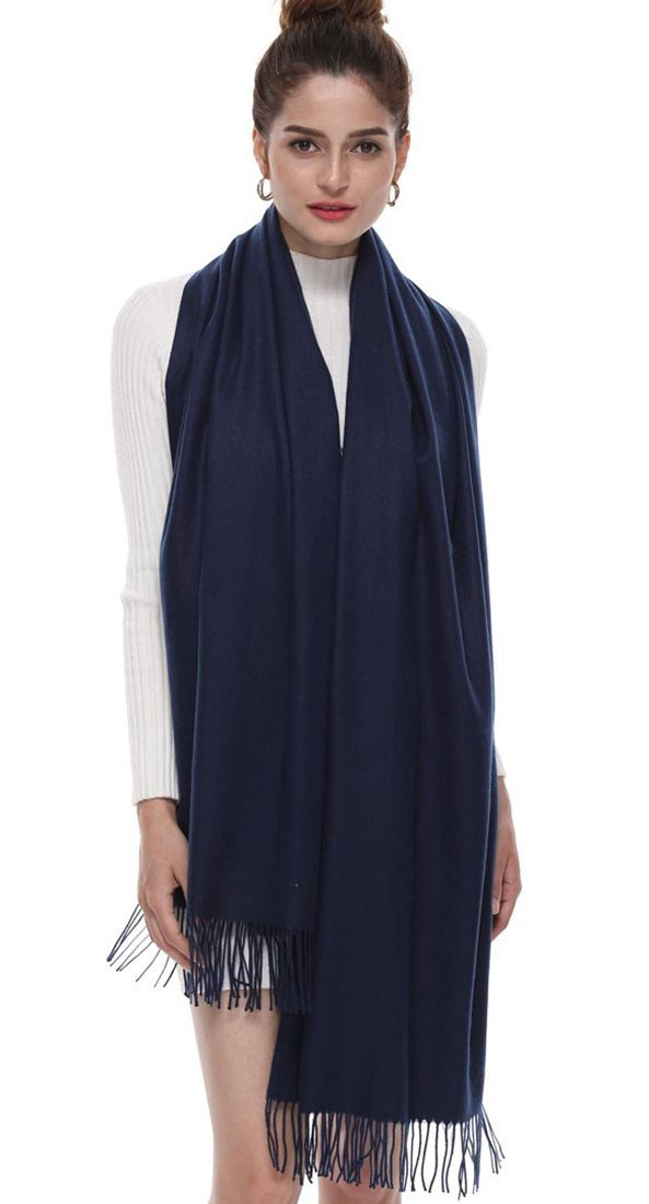 Women's Pashmina Shawls and Wraps Stole Scarf Cashmere Soft Lightweight Solid Scarves with Fringe Navy