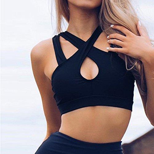 Maniche E Con shirt Top black T Canotte Donna Sportiva Da 1 Senza Moretime CwZ5qaYnZ