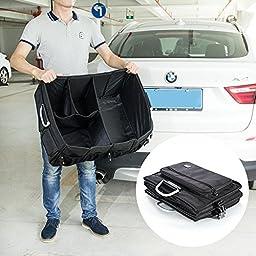 Foldable Cargo Trunk Organizer - High Quality Big Capacity Washable Storage with Metal Handles - Bonus Car Cooler - Black- by MIU COLOR
