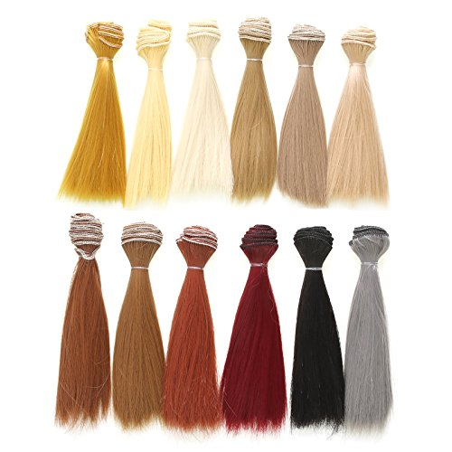 12 Color Doll DIY Straight Hair 15cm 100cm for DIY BJD/SD/Bly The/American Girl Doll- for Arts and Crafts, Doll Making, and More by Vranky