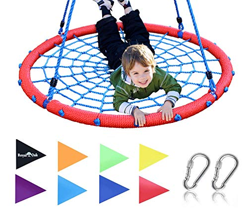 "Royal Oak Giant 40"" Spider Web Tree Swing, 600 lb Weight Capacity, Durable Steel Frame, Waterproof, Adjustable Ropes, Bonus Flag Set 2 Carabiners, Non-Stop Fun Kids!"