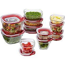 Rubbermaid Easy Find Lids Glass Food Storage Containers, Racer Red, 22-Piece Set 1865887