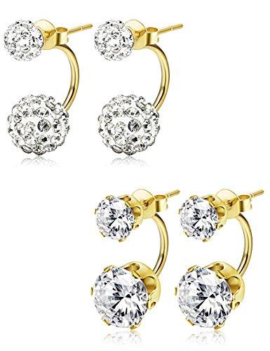 JOERICA 2 Pairs Stainless Steel Stud Earrings for Women Girls Ball Ear Piercing CZ Earrings Gold-tone - Gold Tone Sport Earrings