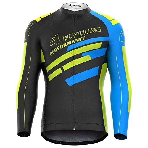 Jual 4ucycling Men s Full Zip Moisture Wicking Long Sleeve Cycling ... a8e3c30d2
