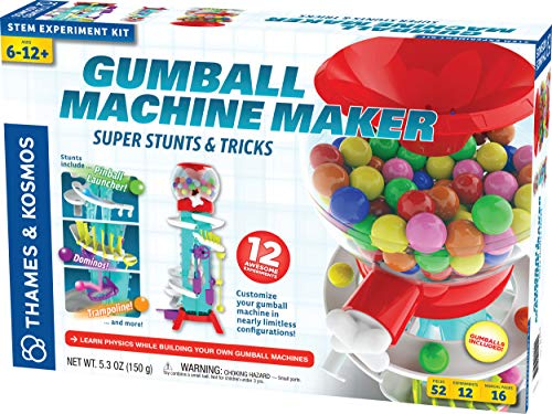 Thames & Kosmos Gumball Machine Maker Lab - Super Stunts & Tricks Science Kit, Build Your Own Gumball Machines with Lessons in Physics & Engineering | 12 Experiments | Includes Delicious Gumballs from Thames & Kosmos