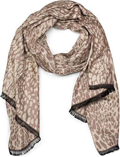styleBREAKER Schal mit Leoparden All Over Print Muster und Fransen, Animal, Leo, Tuch, Damen 01017032