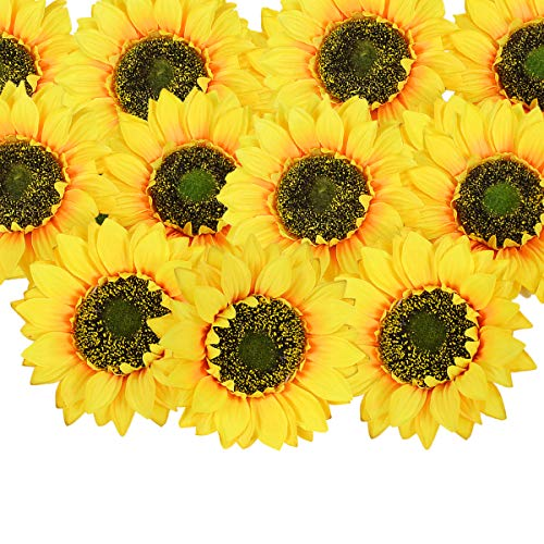 - HEBE 25pcs Artificial Sunflower Heads Silk Faux Floral Yellow Sunflowers Flower Gerber Daisies for Wedding Table Centerpieces Home Kitchen Wreath Hydrangea Cupcakes Topper Decorations