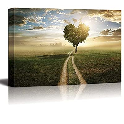 Canvas Prints Wall Art - A Tree Made in The Shape of a Heart at Sunset | Modern Wall Decor/Home Decoration Stretched Gallery Canvas Wrap Giclee Print & Ready to Hang - 32