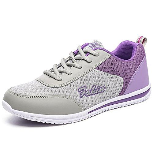 zapatos exterior antiresbaladiza zapatos transpirable zapatillas de deportivos zapatillas deportivas malla Luz mujer Violeta mujer señoras confort vH0Bq4Rw