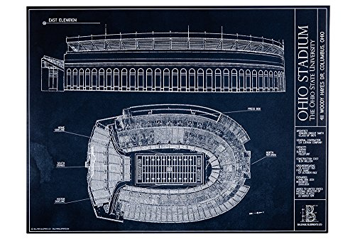 (Ohio Stadium Blueprint Style Print (Unframed, 18