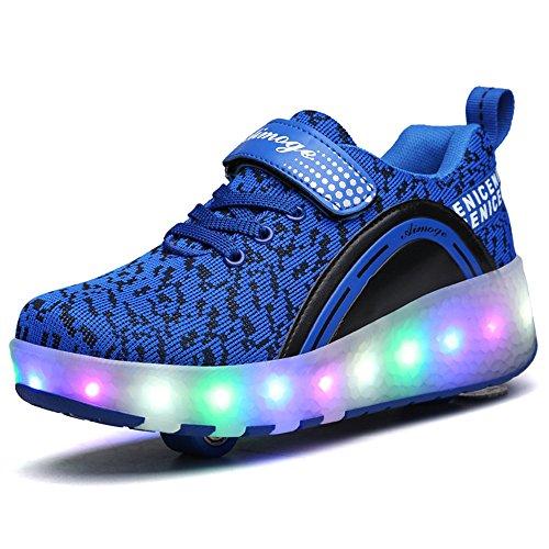 BOSIDI Boys Girls LED Light Up Wheel Roller Skate Shoes Flashing Sneakers 4 M US Big Kid/ 6 B(M) US