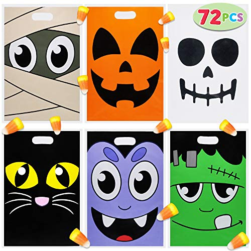 Halloween Goody Bags For Adults (Pack of 72 Halloween Trick or Treat Bags for Trick-or-Treating, Halloween Party Favors, Halloween Snacks, Event Party Favor Supplies, Halloween Goodie Bags, Classroom Giveaway Goody)