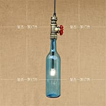 ShengYe Rustic Style Ceiling Pendant Lamp Water bottles . restaurants milk tea shop glass industry bar cafe retro single head lights hanging from the ceiling, chandeliers ,75mm*410mm