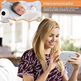 """Vedio Baby Monitor with Camera,Night Vision Two-Way Talk Temperature Sensor Wireless Baby Monitor Security Camera 3.5"""" Color LCD 2.4 GHz Surveillance System(White)"""