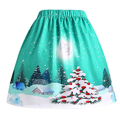 Clearance Forthery Christmas Santa Vintage A-line Pleated Flared Mini Skater Skirts (US Size L = Tag XL, Green)