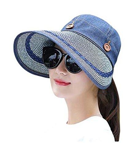 Cowboy Protection Sun (Xugq66 Women's Wide Brim Floppy Sun Hat Reversible 2-in-1 UV Protection Visor Hats for Beach Fishing (Cowboy Blue))