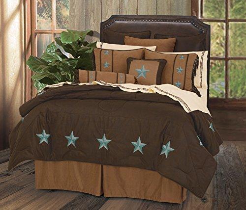 HiEnd Accents Laredo Western Comforter Set, Queen, Turquoise