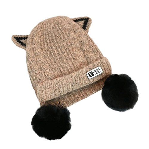 Price comparison product image Kids Cap Girl Boy Cartoon Big Ball Warm Winter Knitted Hat Vibola (Khaki)