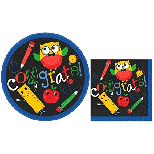 Elementary Graduation Party School Owl and Friends Round Plates and Napkins Value Pack Party Tableware, Multi-colored, Paper, Pack of 30 Plates and 30 (Elementary Graduation)