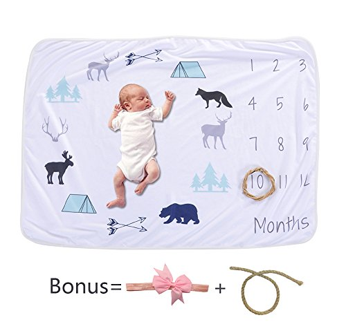 MOLICUI Monthly Baby Milestone Blanket | Photo Props Shoots Backdrop, Swaddle Blanket| Perfect Baby Shower Gift | Infant Baby Swaddling Blanket for (Car Picture Photo)
