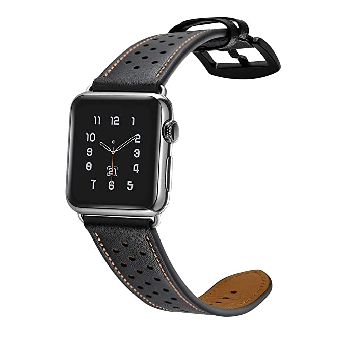 Amazon.com : XBKPLO Sports Leather Band Compatible for Apple Watch Band Series 4 42mm 44mm Series 3/2/1 Replacement Strap Cuff Breathable Bracelet : Pet ...
