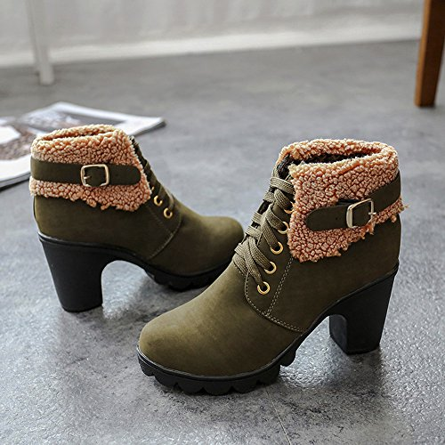 Army Heels up Martin Plush Green Warm Boots Shoes Women Shoes Lace Winter Ankle Inkach High YqwOvZB