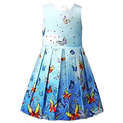 40040803a2b1 Girls Swing Dresses Sleeveless Kid Floral Print Sundress Butterfly Party