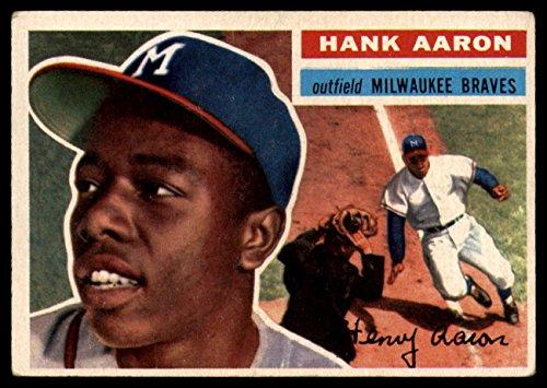 1956 Topps # 31 Hank Aaron Milwaukee Braves (Baseball Card) Dean's Cards 5 - EX - 1956 Baseball Topps