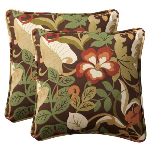 Pillow Perfect Decorative Brown/Green Tropical Toss Pillows, Square, 2-Pack