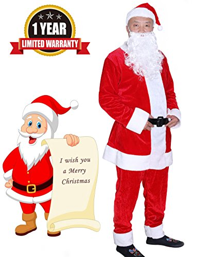 Plush Santa Claus Suit Adult Costumes (SuBleer Santa Suit Costume Santa Adult Santa Claus Suit Christmas Suit Costume Deluxe Ultra Velvet Men's Claus Suit, Red, X-Large)