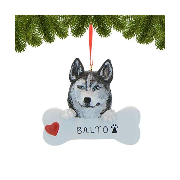 Personalized Siberian Husky Christmas Tree Ornament 2019 - Dog Paw Bone Heart Loyal Puppy Gentle Piebald Best Furever Intelligent Fluffy White Black Silver Grey - Free Customization 2