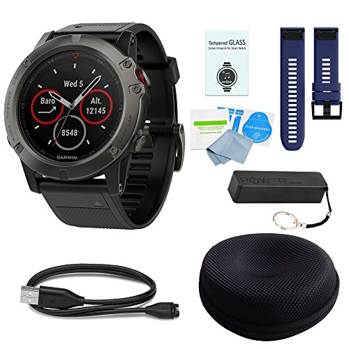 WhoIsCamera Garmin Fenix 5X Sapphire Slate Gray w/Black Band & Dark Blue Band Deluxe Bundle