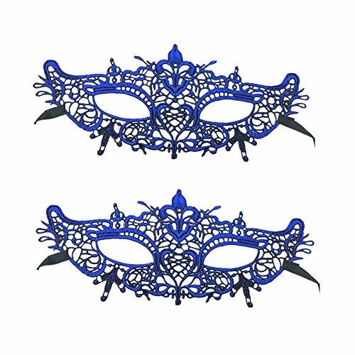 Sexy Masquerade Masks Venetian Lace Face Eye Mask for Fancy Dress Masquerade Ball Wedding Bachelorette Party Halloween Mardi Gras Carvinal (Baroque, Blue)