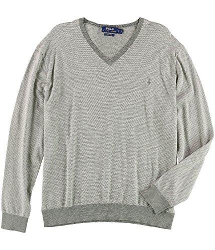 V-neck Herringbone Sweater (Polo Ralph Lauren Men's V Neck Pima Herringbone Sweater, XS, Grey)