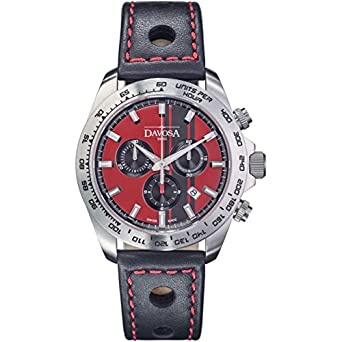 Davosa Herren-Armbanduhr Speedline TX Chrono Chronograph Leder Schwarz 16248865