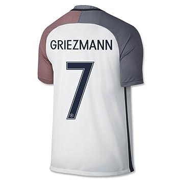 2016 Copa UEFA Eurocopa Camiseta de selección francesa de fútbol, 7 Antoine Griezmann, segunda equipación, color blanco, hombre, blanco, mediano: Amazon.es: ...