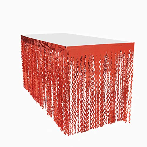 Leegleri Plastic Metallic Foil Fringe Table Skirt Tinsel Party Curly Willow Table Skirt Banner for Mardi Gras Party (Wavy Red, 1PACK)