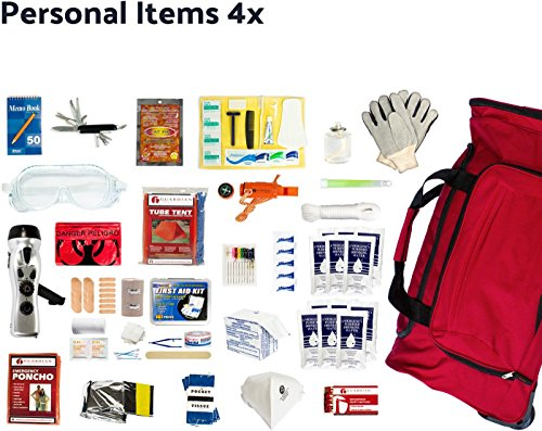 Complete Earthquake Bag for 4 people for 3 days – Most popular emergency kit for earthquakes, hurricanes, floods + other disasters (Emergency food, water, shelter, hand-crank phone charger)
