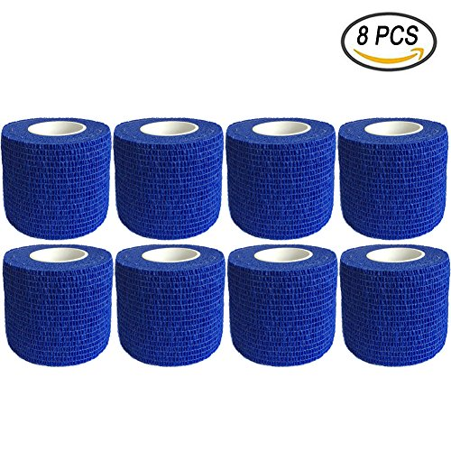 GooGou Self Adherent Wrap Bandages Self Adhering Cohesive Tape Elastic Athletic Sports Tape for Sports Sprain Swelling and Soreness on Wrist and Ankle 8PCS 2 in X 14.7 ft (blue) (Self Elastic Adhering)