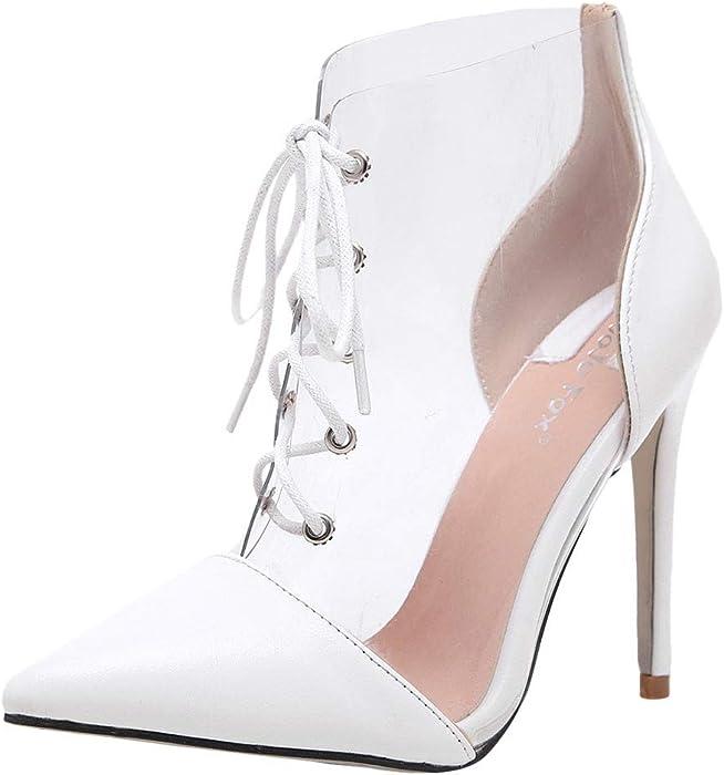 ABsolute Zapatos Sandalias de Mujer con Tacones, Cordones Transparentes y con Cordones Atractivos de Moda para Mujer Botas Finas de tacón Alto
