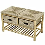 Storage Entryway Bench with 2 Drawer Bamboo Bench with Shelf in Natural Bamboo and Seagrass 18.1'' H x 30.3'' W x 14.1'' D in .