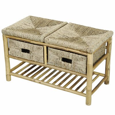 Storage Entryway Bench with 2 Drawer Bamboo Bench with Shelf in Natural Bamboo and Seagrass 18.1'' H x 30.3'' W x 14.1'' D in . by Heather Ann