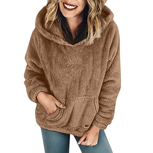 Dressin Women Warm Faux Shearling Hooded Sweatshirt Winter Coat Outwear with Pockets ()