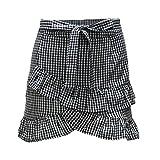 COMVIP Women Plaid Ruffle High Waist Bowknot Irregular Mini Skirt Black White XL