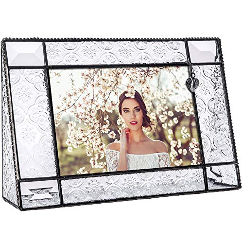 - J Devlin Pic 278-46H Vintage Glass Picture Frame 4x6 Horizontal Photo Frame Heart Accent Decorative Keepsake