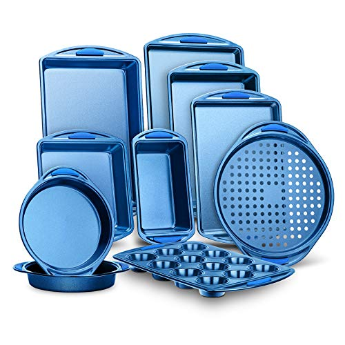 10-Piece Kitchen Oven Baking Pans – Deluxe Carbon Steel Bakeware Set with Stylish Non-stick Blue Coating Inside and Out…