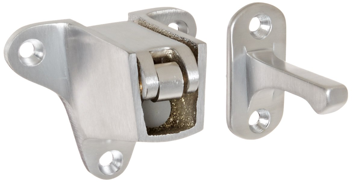 Rockwood 490.26D Brass Wall Mount Automatic Door Holder with Stop, Satin Chrome Plated Finish, 2'' Strike Projection, Includes Fasteners for Use with Wood/Metal Doors and Drywall/Masonry Walls