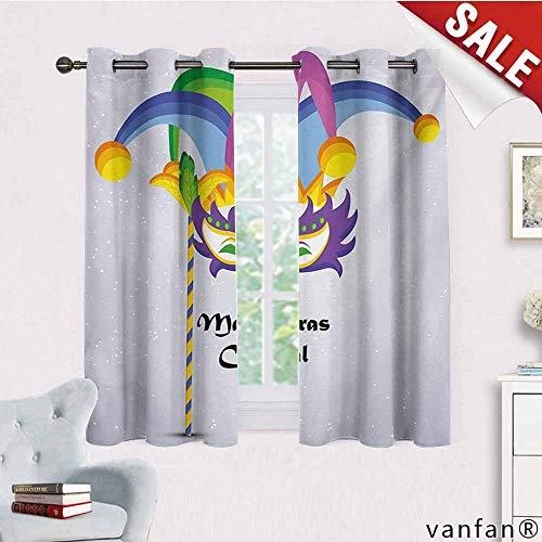 - Big datastore Children Bedroom Curtains,Mardi Gras,Mardi Gras Carnival Inscription with Traditional Party Icons Clown Costume Hat,Pattern Custom Availablemulticolor,W72 Xl72