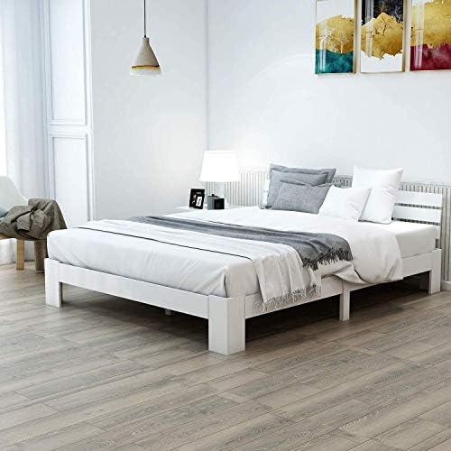 ModernLuxe Cama doble de madera maciza, 140 x 200 cm, cama de madera de pino, con cabecero y somier, adecuada como cama mayor, cómoda con respaldo, ...