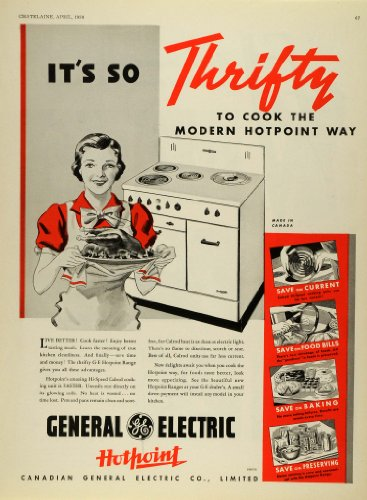 Ge Hotpoint Appliances (1938 Ad Canadian General Electric Co G-E Hotpoint Stove Kitchen Appliances Oven - Original Print Ad)